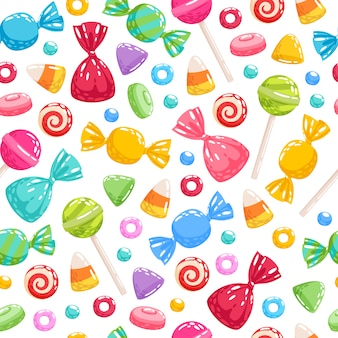 カラフルなお菓子アイコン背景-イラスト。