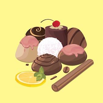 Набор иконок красочные сладости - конфеты с лимоном