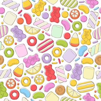 Colorful sweets seamless background.