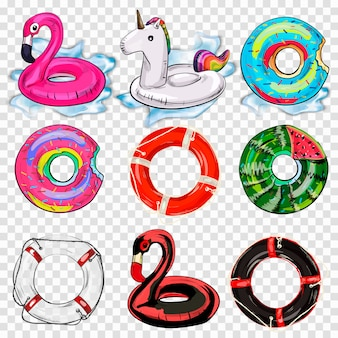 Colorful swim rings icon set isolated.