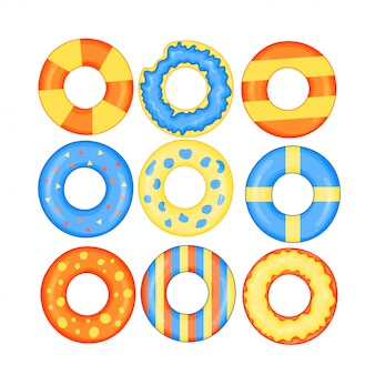 Colorful swim rings icon set isolated