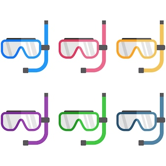 Colorful swimming goggles breathing tube element icon game asset