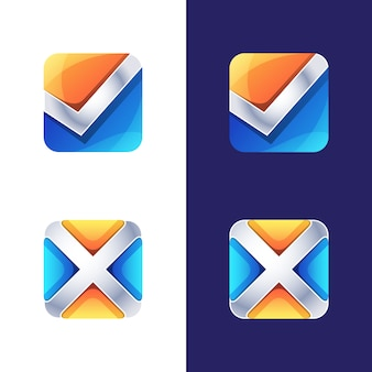 Colorful symbol, icon, logo right and wrong, initial letter x and v logo   template