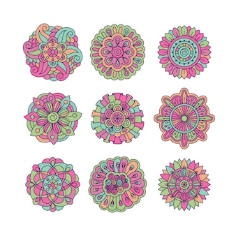 Colorful symmetrical doodle floral elements