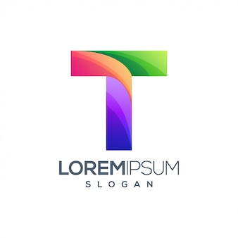 Colorful t gradient logo design