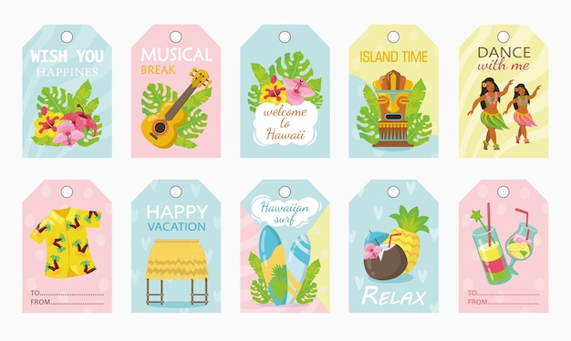 Progettazione di etichette colorate per vacanza in illustrazione vettoriale hawaii