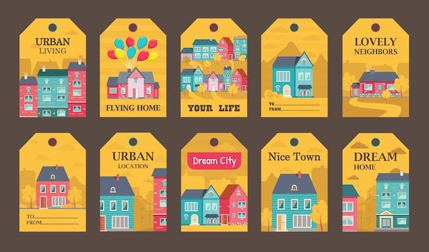 Progettazione di etichette colorate per l'illustrazione di annunci di stile di vita urbano.
