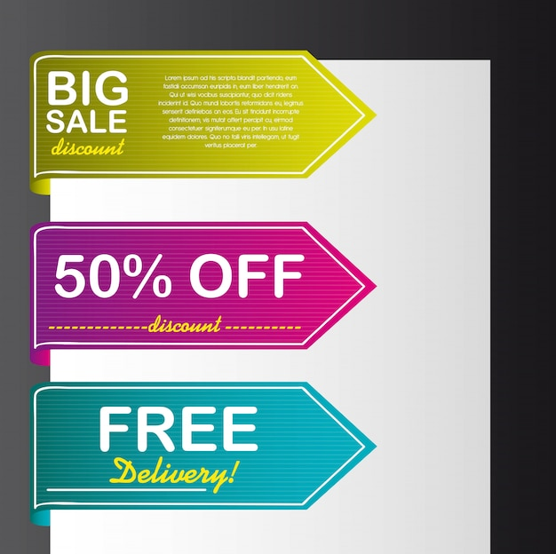 Colorful tags vector over paper over black background vector