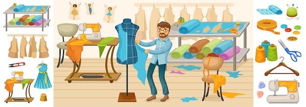 Красочная композиция элементов пошива с рабочими аксессуарами и инструментами профессиональных мастеров