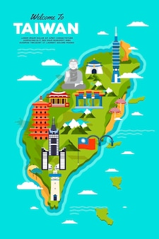 Colorful taiwan map with landmarks
