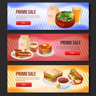 Colorful tasty breakfast sale banner web set