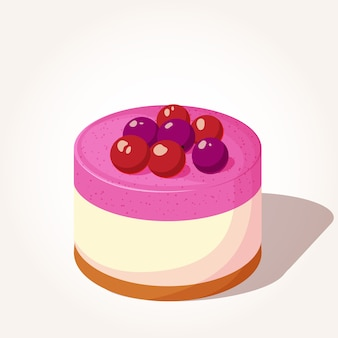 Colorful tasty cheesecake with berries in cartoon style.