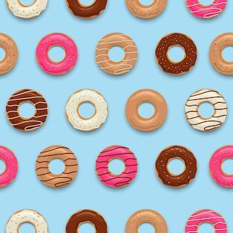 カラフルなおいしいドーナツのシームレスなパターン