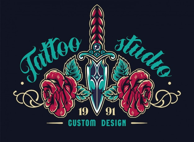 Colorful tattoo studio elegant label