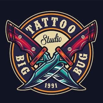 Colorful tattoo studio round print
