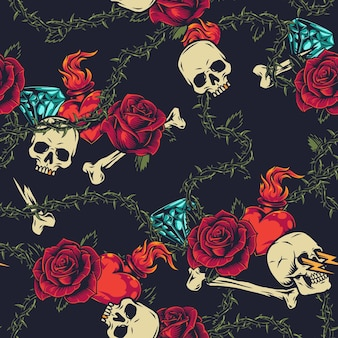 Colorful tattoos seamless pattern with skulls bones roses, fiery hearts and diamonds and green barbed wire