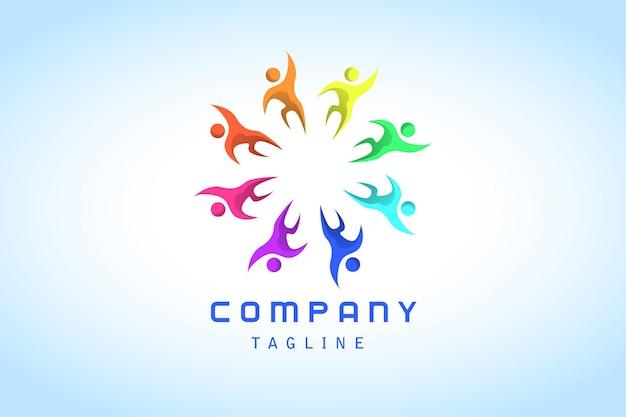 カラフルなチームワークグラデーションロゴ企業