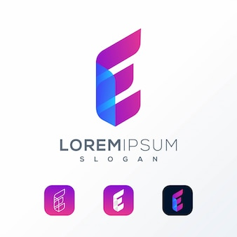 Colorful tech e logo design ready to use