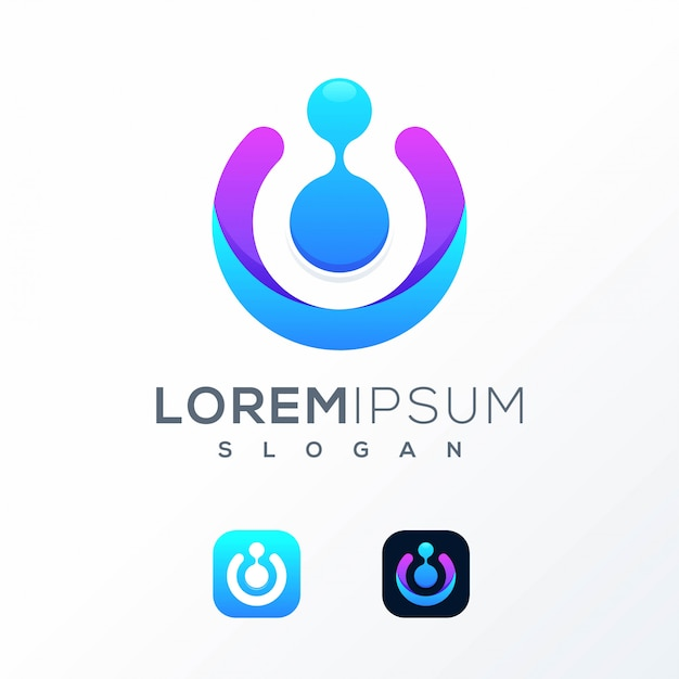 Colorful tech logo design ready to use