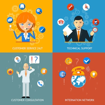 Colorful technical support and customer service icons