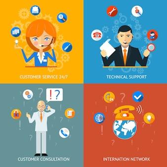 Supporto tecnico colorato e icone del servizio clienti