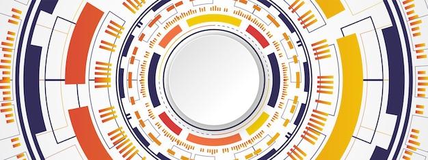 그라데이션 디지털 원 및 회로 기판에 다채로운 기술 배경 흰색 원 배너
