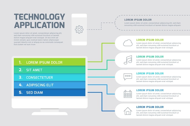 Colorful technology infographic template