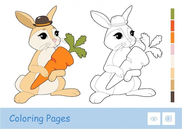 カラフルなテンプレートと白い背景に分離されたニンジンを保持しているかわいいウサギの無色の輪郭画像。