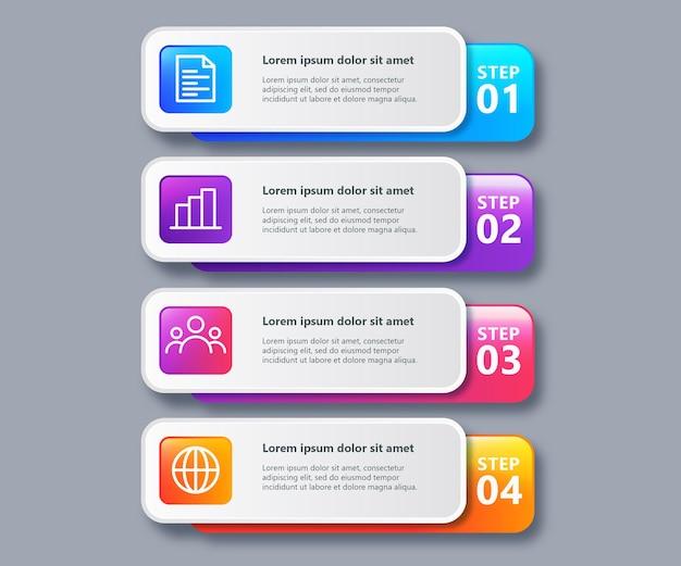 Красочный шаблон бизнес-инфографики с 4 шагами