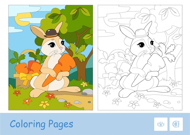 Colorful template and colorless contour image of cute bunny in a hat picking carrots in a basket in a wood.