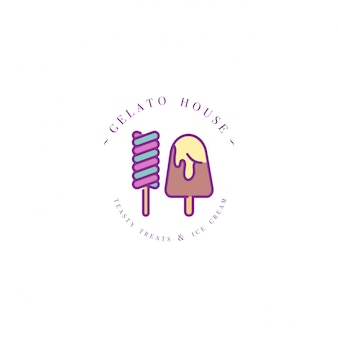 Colorful template logo or emblem - ice cream, gelato. ice cream icon. logo in trendy linear style  on white background.