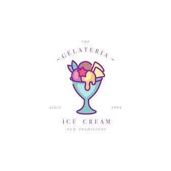 カラフルなテンプレートのロゴやエンブレム-アイスクリーム、ジェラート。アイスクリームアイコン。白い背景の上のトレンディな直線的なスタイルのロゴ。