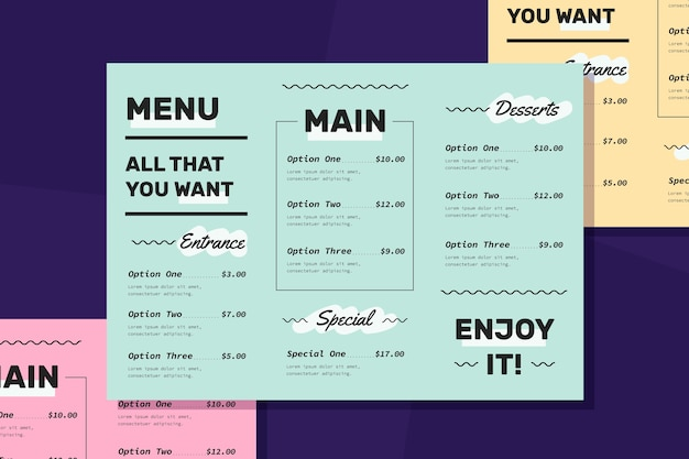 Colorful template restaurant menu