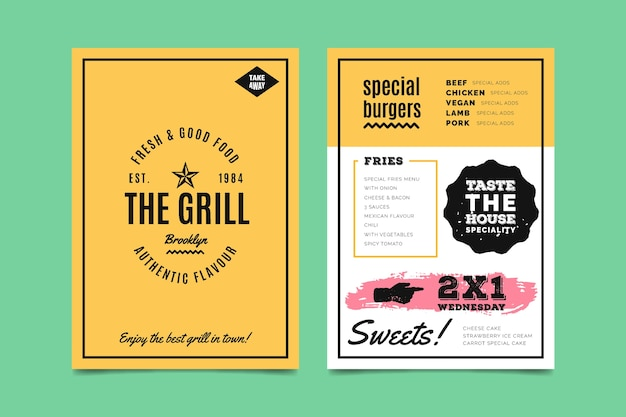 Colorful template for restaurant menu