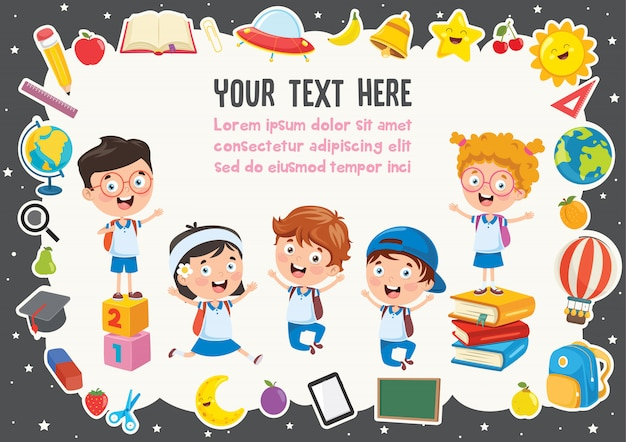 Colorful template with cute children