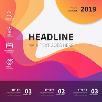 Colorful Template with Wavy Shapes for Business
