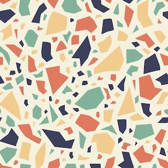 カラフルなテラゾシームレスパターン。明るいモザイクベクトルの背景。