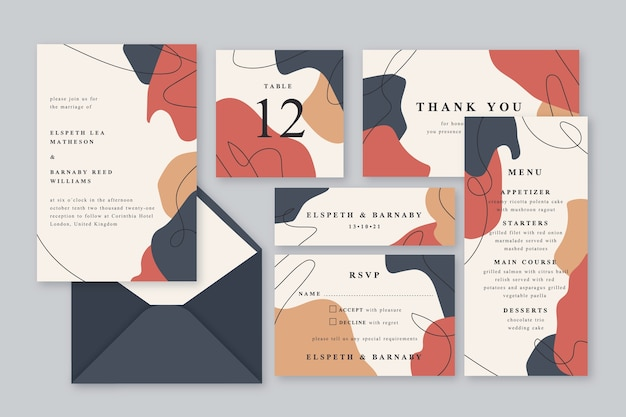 Colorful terracotta wedding stationery