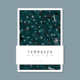 Colorful terrazzo pattern poster vector