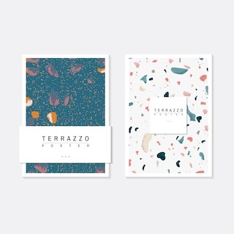 Colorful Terrazzo pattern posters vector set