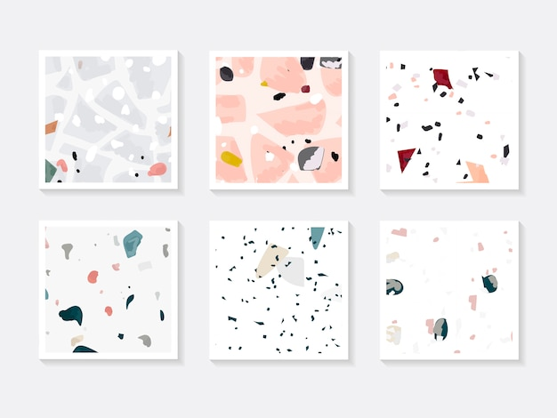Colorful terrazzo seamless pattern cards vector set