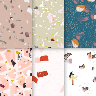 Colorful terrazzo seamless pattern posters vector set