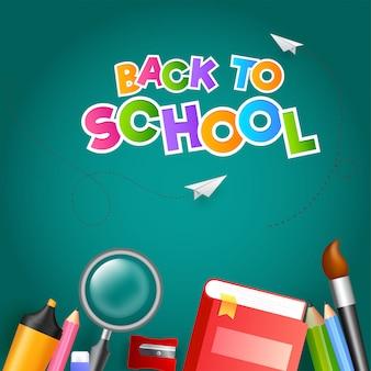 Красочный текст «снова в школу» с бумажным самолетиком и учебным пособием
