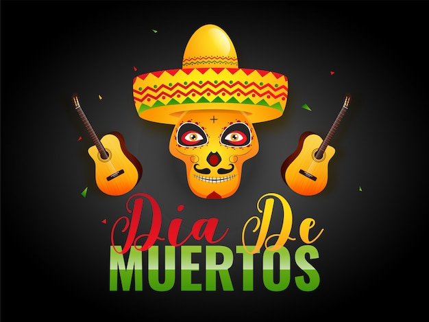 Colorful text of dia de muertos with skull or calavera wearing sombrero hat and guitar illustration on black .