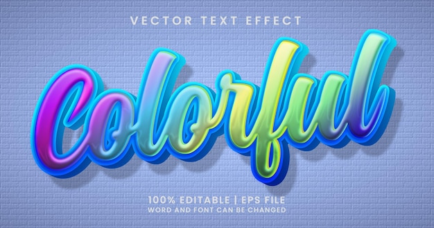 Colorful text, editable text effect style template