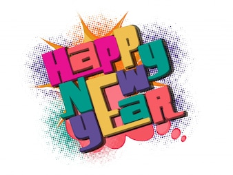 Colorful text Happy New Year on halftone background.