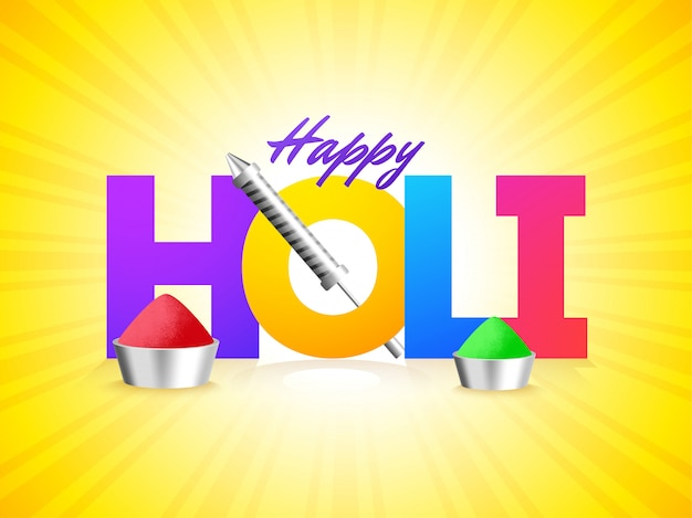 Colorful text holi with festival elements on yellow rays backgro