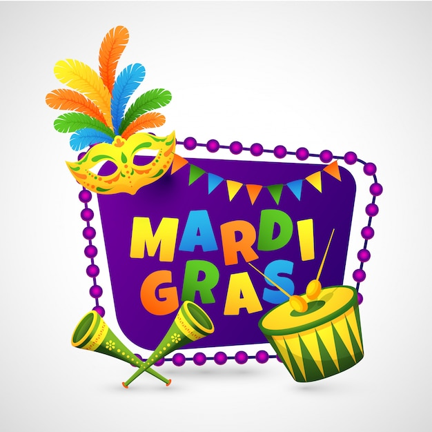 Colorful text of mardi gras on purple frame decorated with bunting flags.