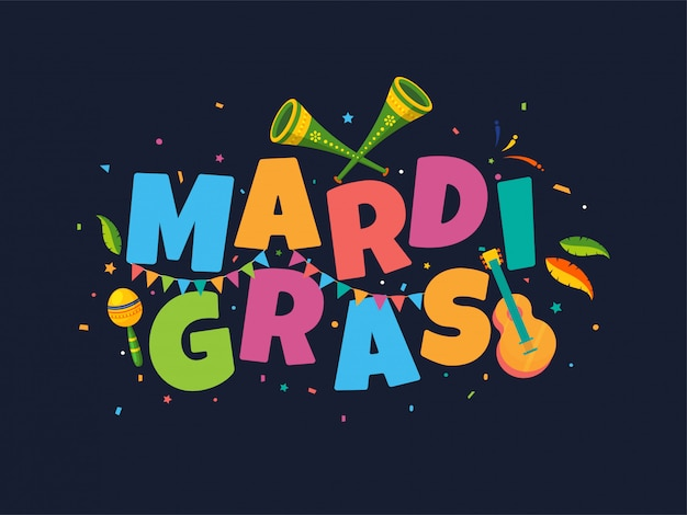 Colorful text of mardi gras with music instruments and confetti background
