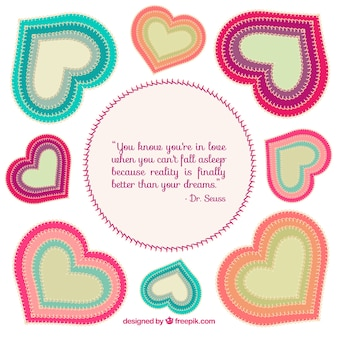 Colorful textile hearts and love quote